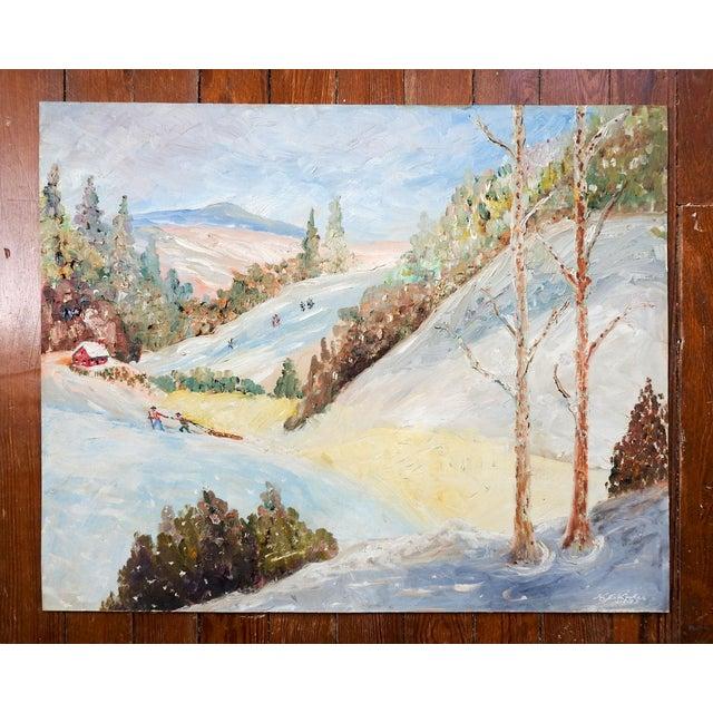 Vintage Folk Art Winter Scene Painting For Sale - Image 4 of 5