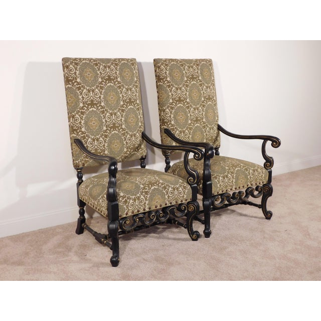 1990s Maitland Smith William & Mary Ebony W Gold Gilt Accents Fireside Arm Chairs - a Pair For Sale - Image 5 of 13