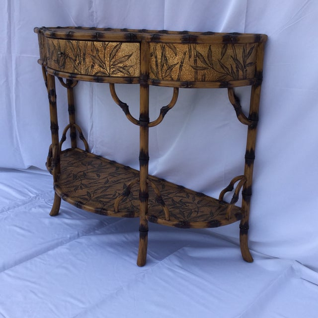 Hollywood Regency Gold and Faux Burnt Bamboo Console Table For Sale - Image 3 of 10