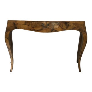 Italian Burl Console Table For Sale