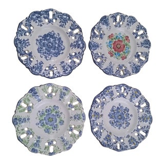 Vintage Jay Willfred Portugal Hand Painted Porcelain Plates - Set of 4 For Sale