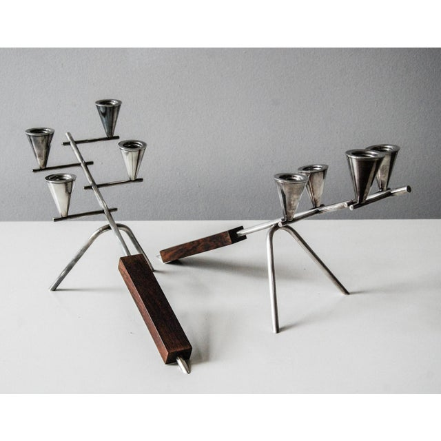 1960 Carl Christiansen Silverplate and Rosewood Candleholders Denmark - Pair For Sale - Image 10 of 11