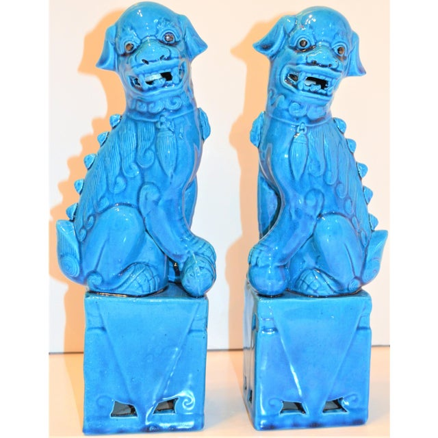 1980s Chinese Turquoise Glazed Large Foo Dog Figurines - a Pair For Sale - Image 4 of 9