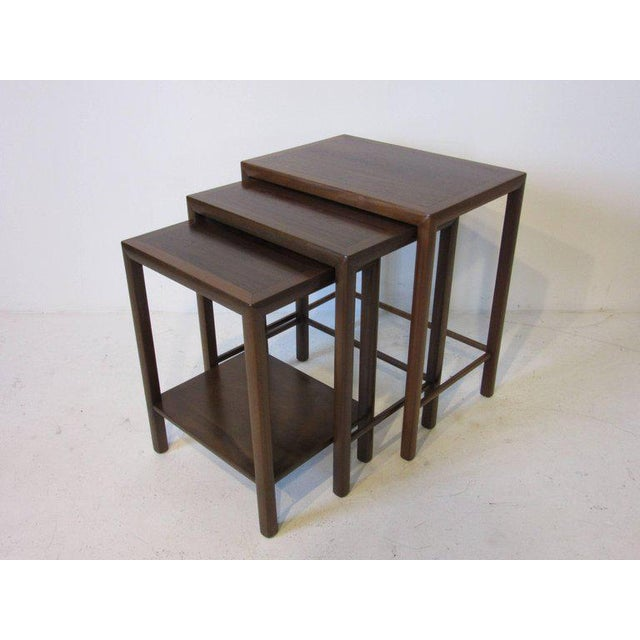 Rosewood and Walnut Nesting Tables - set of 3 For Sale - Image 4 of 5