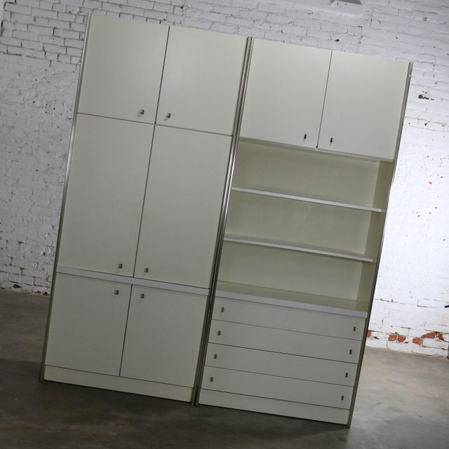 Mid Century Modern White Laminate Wall Unit Bookcase Display Cabinets, a Pair - Image 2 of 11