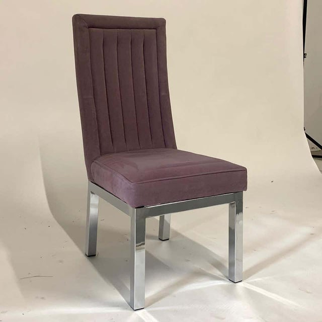 Set of 6 Milo Baughman for Design Institute of America Dia Chrome Parsons Chairs For Sale - Image 12 of 13