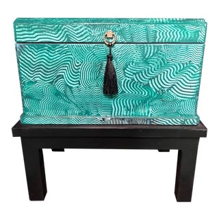 1960s Vintage Faux Malachite Box For Sale