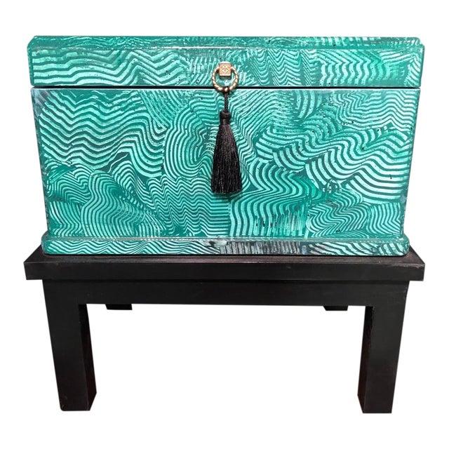 1960s Vintage Faux Malachite Box For Sale