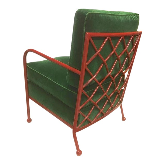 Jean Royère Pair of Croisillon Armchairs in Red Lacquered Wrought Iron.