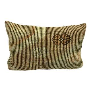 Nomadic Handmade Turkish Kilim Vintage Natural Lumbar Kilim Pillow Cover For Sale