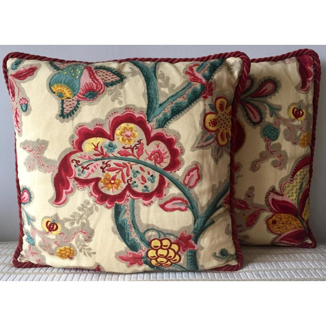 2 Vintage Osborne & Little Hand-Printed Linen Pillows-Nina Campbell ...