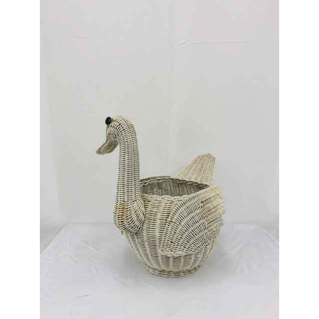 Franco Albini Vintage Woven Wicker Swan Bird Basket For Sale - Image 4 of 11