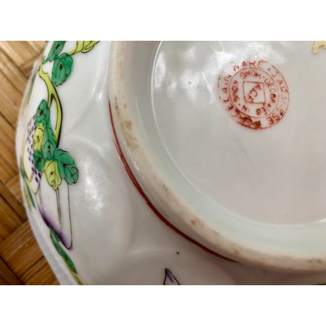 Mid Century Vintage Chinese Famille Verte Green Butterfly and Floral Porcelain Lotus Bowl For Sale - Image 9 of 10