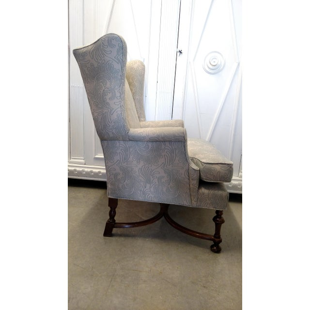 Vintage Wingback Chair with Wood Legs For Sale - Image 5 of 9