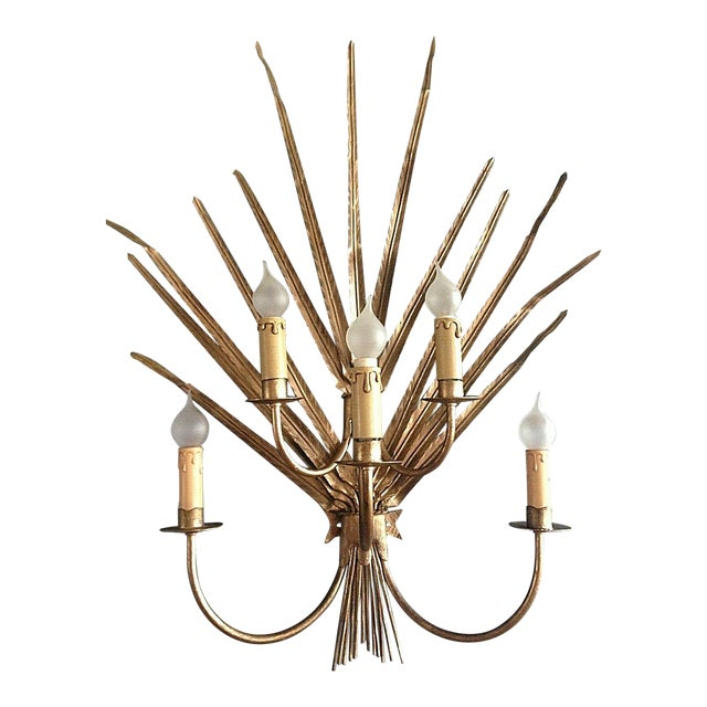 1970s Mid Century Modern Large 5 Light Palm Wall Sconce - Attrib. Maison Jansen For Sale - Image 5 of 5