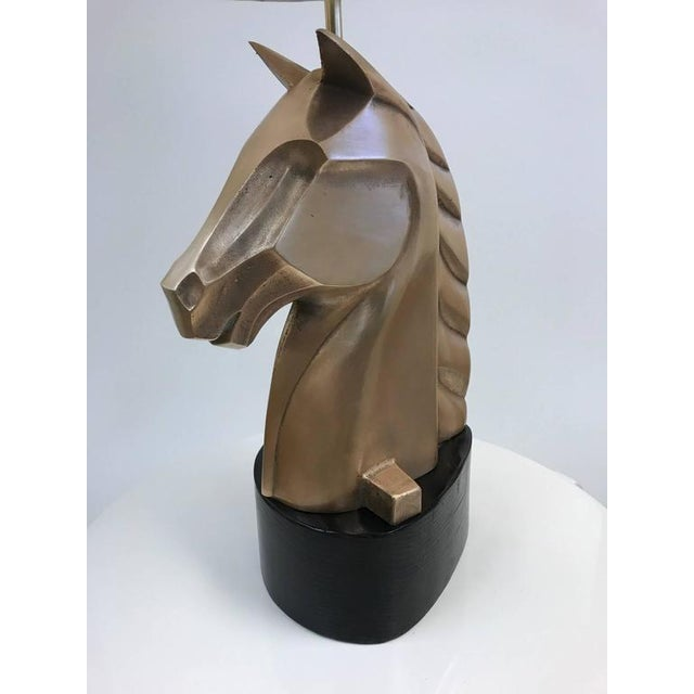 French Pair of French Bronze Horse Lamps For Sale - Image 3 of 5