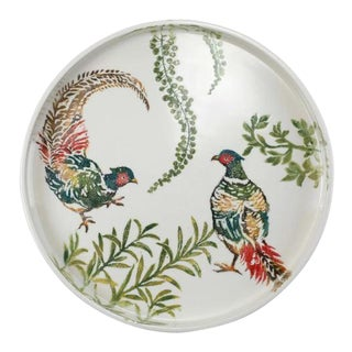 Kenneth Ludwig Chicago Fauna Pheasants Round Tray For Sale