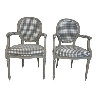 1920s Louis XVI Style Grey Painted Country Fauteuils in Grey Gingham - a Pair For Sale