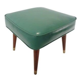 Mid Century Turquoise Naugahyde Ottoman Footstool