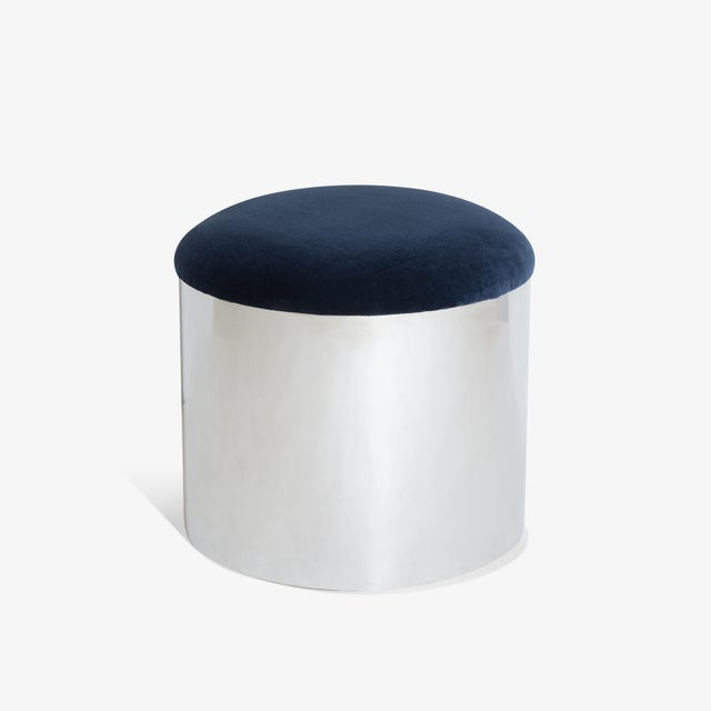 "Contemporary Chrome ""Mushroom"" Pouf in Navy Velvey For Sale - Image 3 of 5"