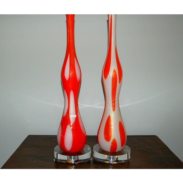 Murano Vintage Murano Glass Table Lamps Orange and White For Sale - Image 4 of 10