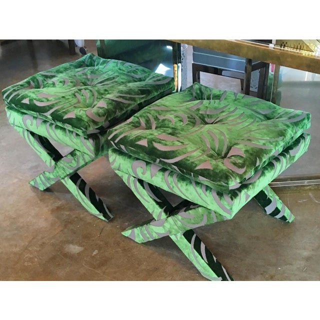 "Pair of Newly Upholstered Billy Baldwin ""X"" Benches - Image 6 of 7"