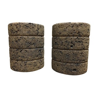 1950s Boho Chic Cork Bookends - a Pair For Sale