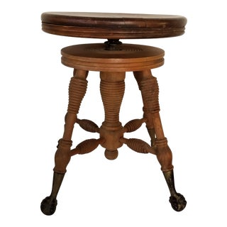 Antique Victorian Wood Claw Feet Piano Swivel Stool