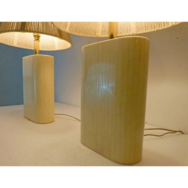 Tan Karl Springer Tessellated Bone Lamps With Original Rope Shades - A Pair For Sale - Image 8 of 11