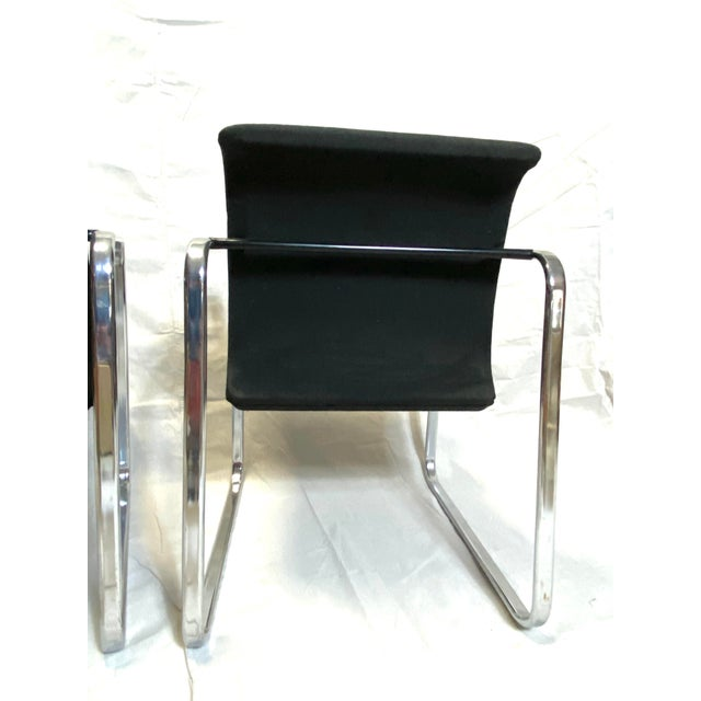 Marvelous Peter Protzman for Herman Miller Chrome Black Fabric Chairs - a Pair For Sale - Image 10 of 13