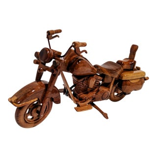 Vintage Style Handcrafted Wood Motorcycle Model