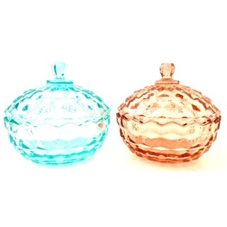 1920's American Depression Glass Diamond Cut Lidded Jars- Set of 2 Preview