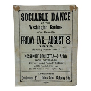 "1919 Vintage ""Sociable Dance"" Washington Gardens Sign For Sale"