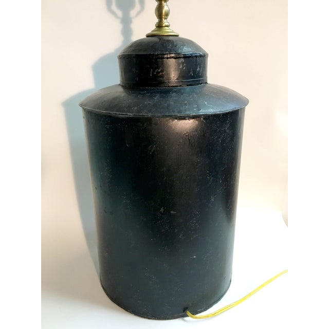 Vintage Black Handpainted English Tea Caddy Lamp For Sale - Image 4 of 5