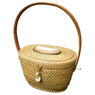 Nantucket Style Wicker Resin Whale Basket Handbag Circa 1980s For Sale