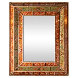 Mid-Century Modern Reverse Églomisé Gilded Venetian Shadowbox Mirror For Sale