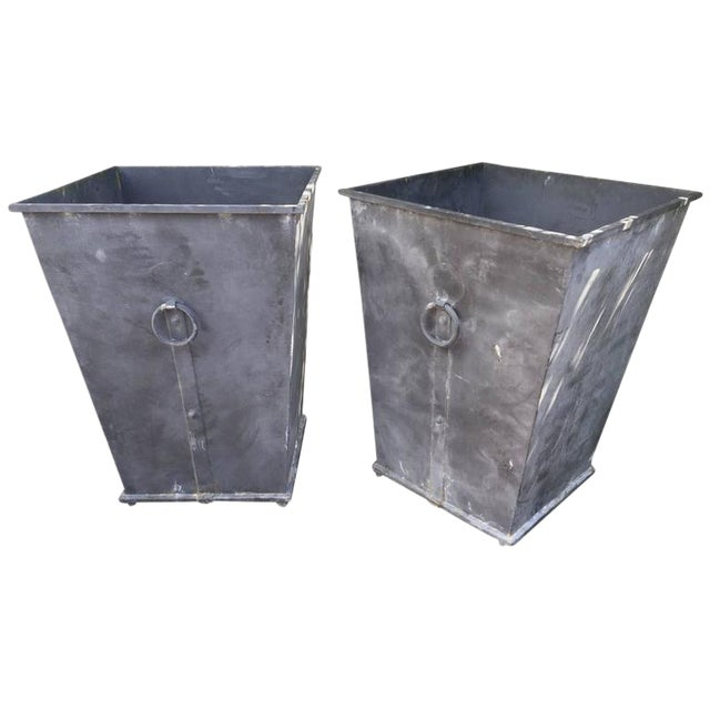 Country Style Steel Planters - A Pair For Sale