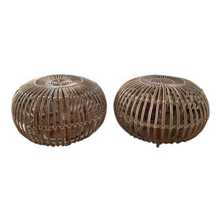 Pair, Mid Century Franco Albini Stools, Side Tables For Sale