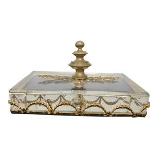 Antique Clear Glass Gold Metal Garland Rectangular Desk Paperweight For Sale