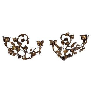 Gilt Tole Floral Sconces, Pair For Sale