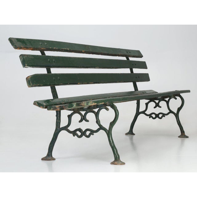 Early 20th Century Antique French Cast Iron & Wood Garden Bench For Sale - Image 5 of 13