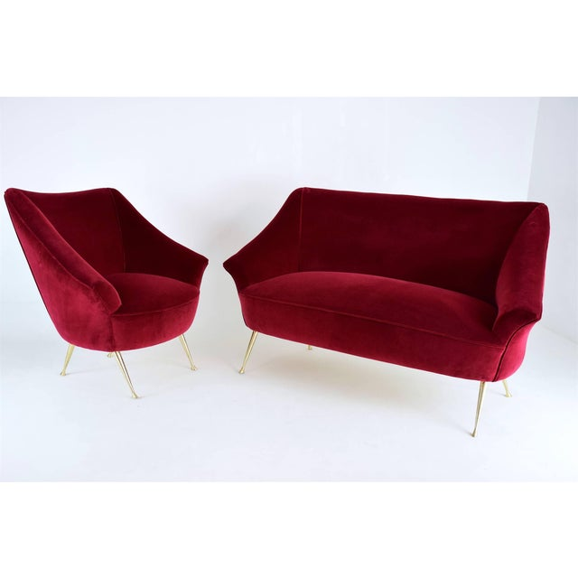 Italian Mid-Century Velvet Armchair For Sale - Image 9 of 11