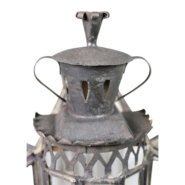 1920s Moroccan Black Painted Tole Hall Lantern For Sale - Image 5 of 11