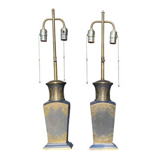 Vintage Pewter and Brass Vintage Lamps - a Pair For Sale