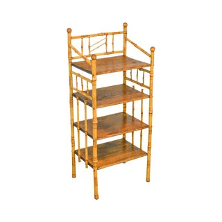 Burnt Bamboo Antique Victoria 4 Tier Etagere Stand Bookcase For Sale