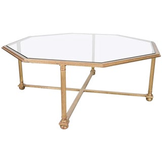 1930s French Octagonal Gilt Coffee Table For Sale