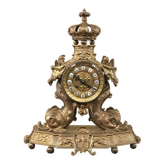 19th Century French Renaissance Dolphin Mantel Clock For Sale