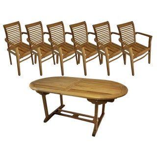Oval Outdoor Teak Extension Dining Table & Teak Wood Arm Chairs For Sale
