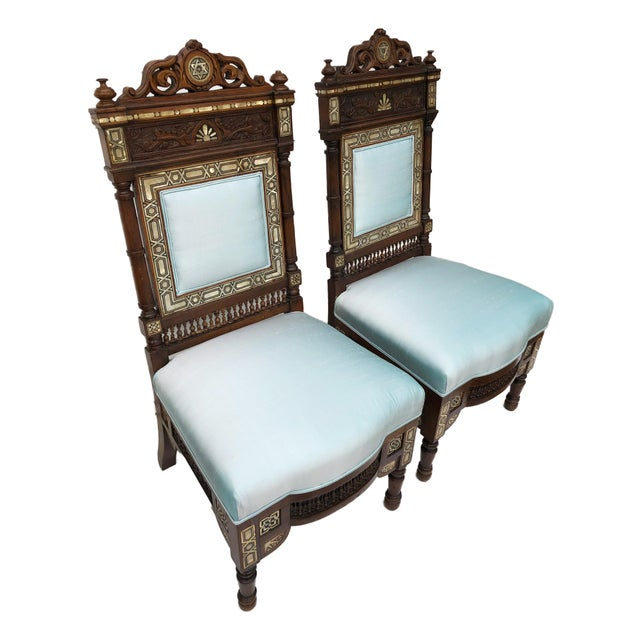 Museum Pieces 19th C Moorish Pair of Chairs For Sale - Image 10 of 12