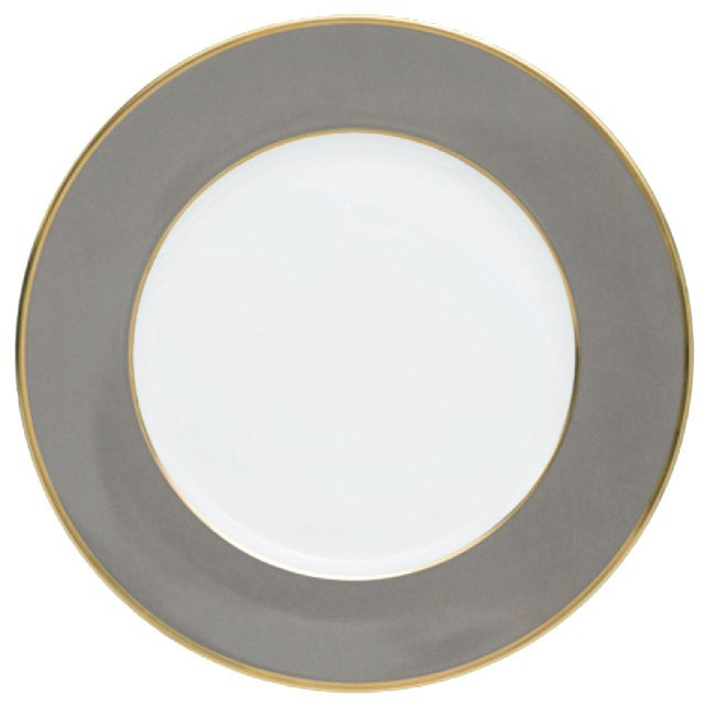 """Schubert"" Charger in Light Gray & Narrow Gold Rim For Sale - Image 13 of 13"